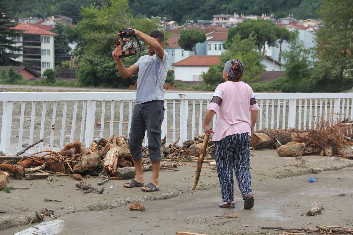Ayancık ta vatandaşlar kışlık odunu selden çıkarıyor #2