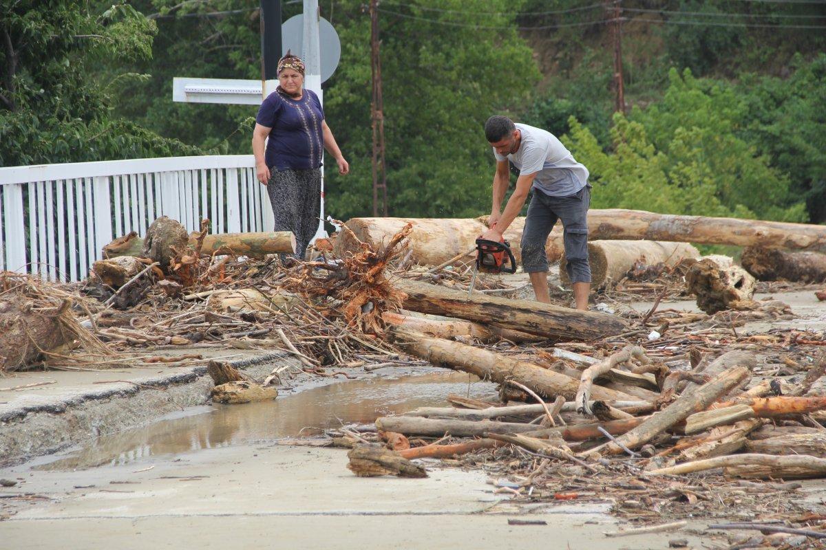 Ayancık ta vatandaşlar kışlık odunu selden çıkarıyor #1
