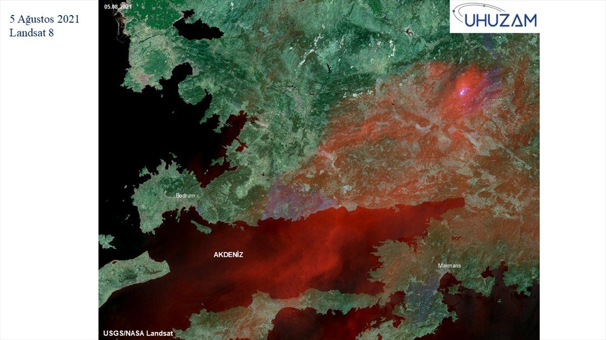 Akdeniz ve Ege de yanan alanlar uzaydan görüntülendi #14