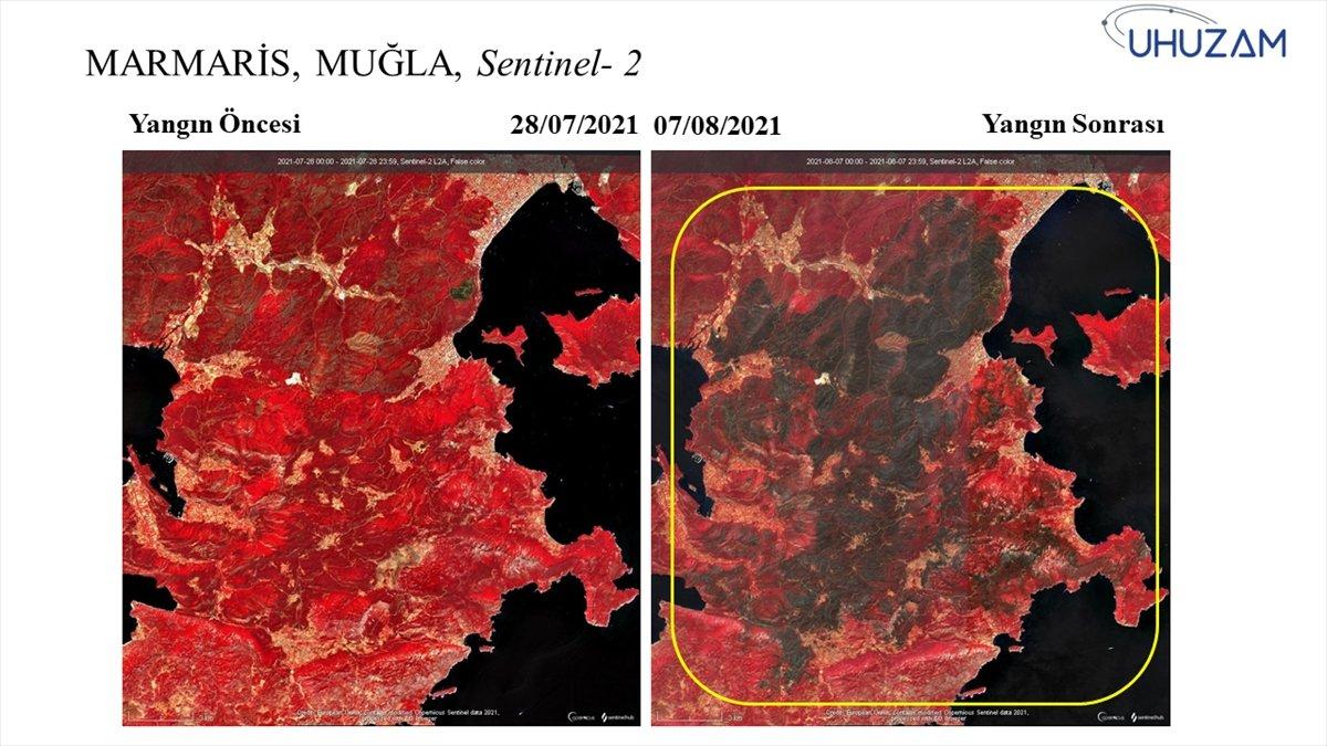 Akdeniz ve Ege de yanan alanlar uzaydan görüntülendi #12