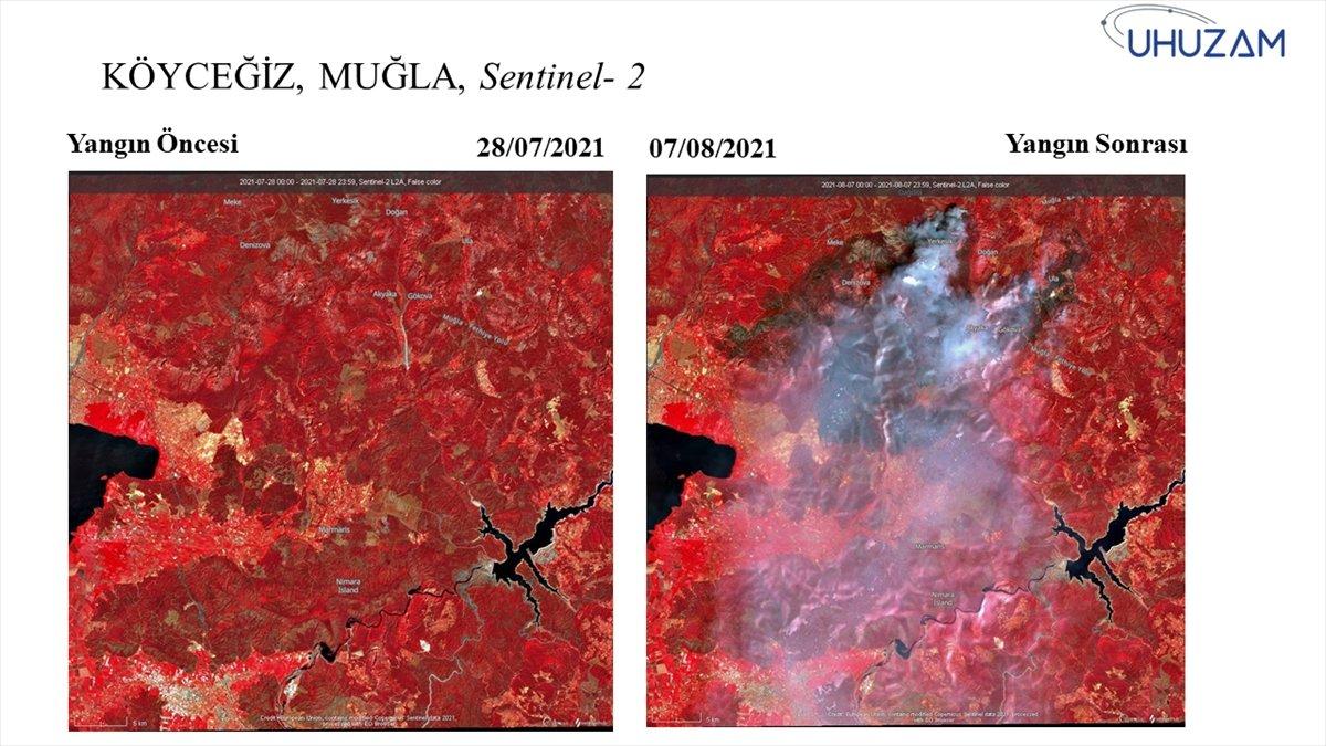 Akdeniz ve Ege de yanan alanlar uzaydan görüntülendi #13