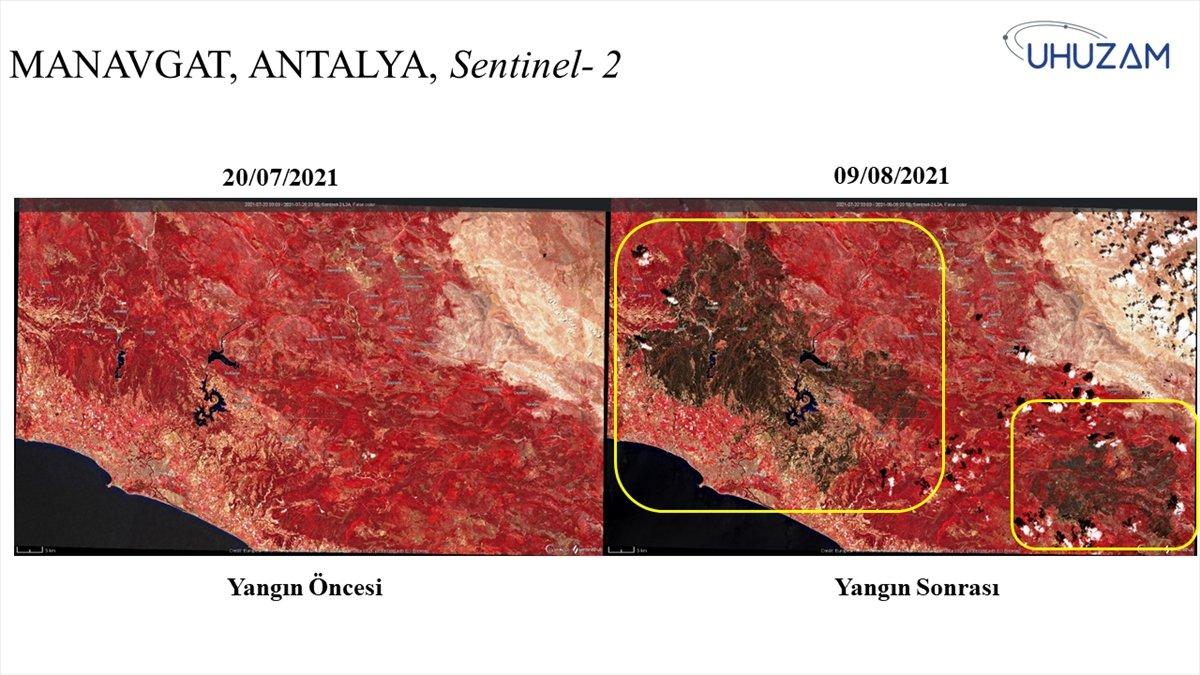 Akdeniz ve Ege de yanan alanlar uzaydan görüntülendi #1