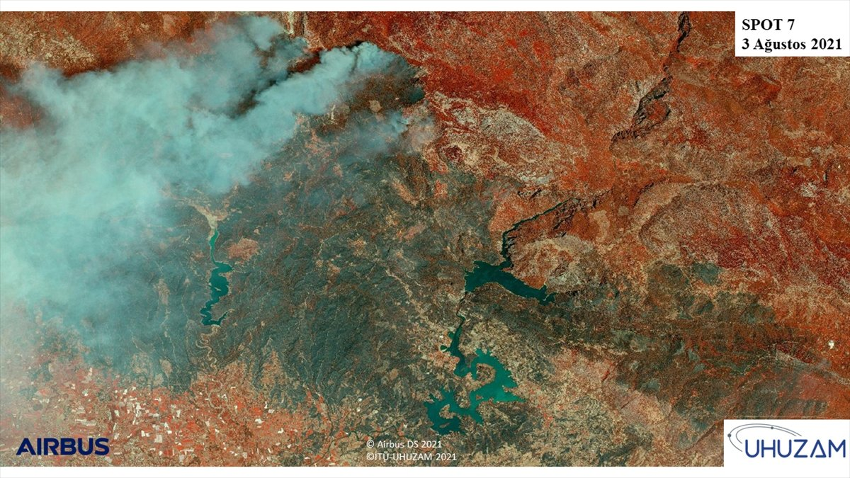 Akdeniz ve Ege de yanan alanlar uzaydan görüntülendi #3