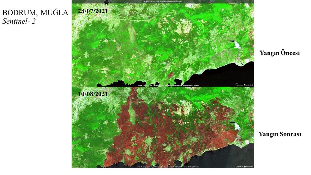 Akdeniz ve Ege de yanan alanlar uzaydan görüntülendi #10