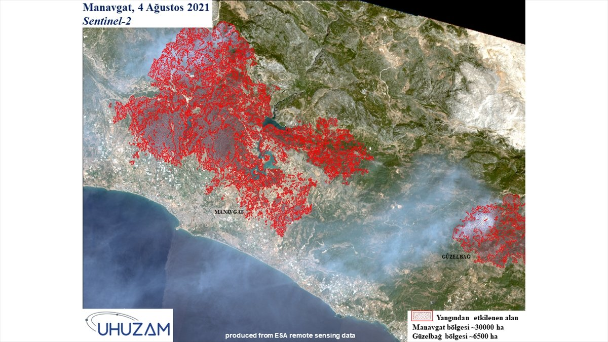 Akdeniz ve Ege de yanan alanlar uzaydan görüntülendi #4