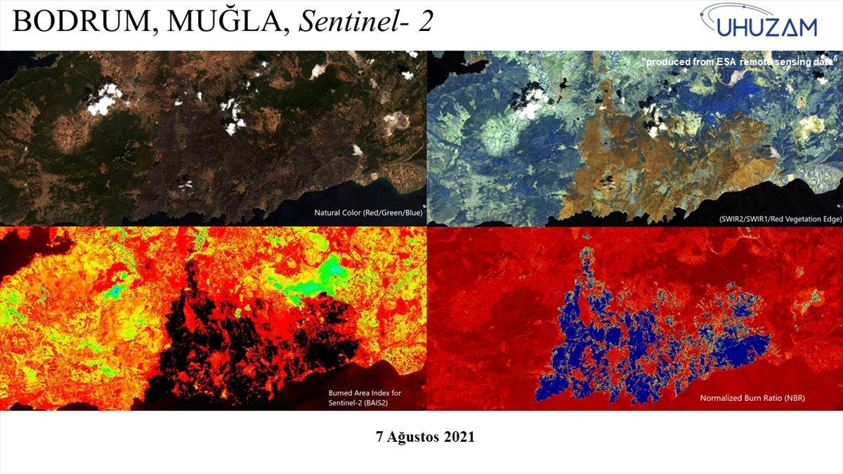 Akdeniz ve Ege de yanan alanlar uzaydan görüntülendi #9