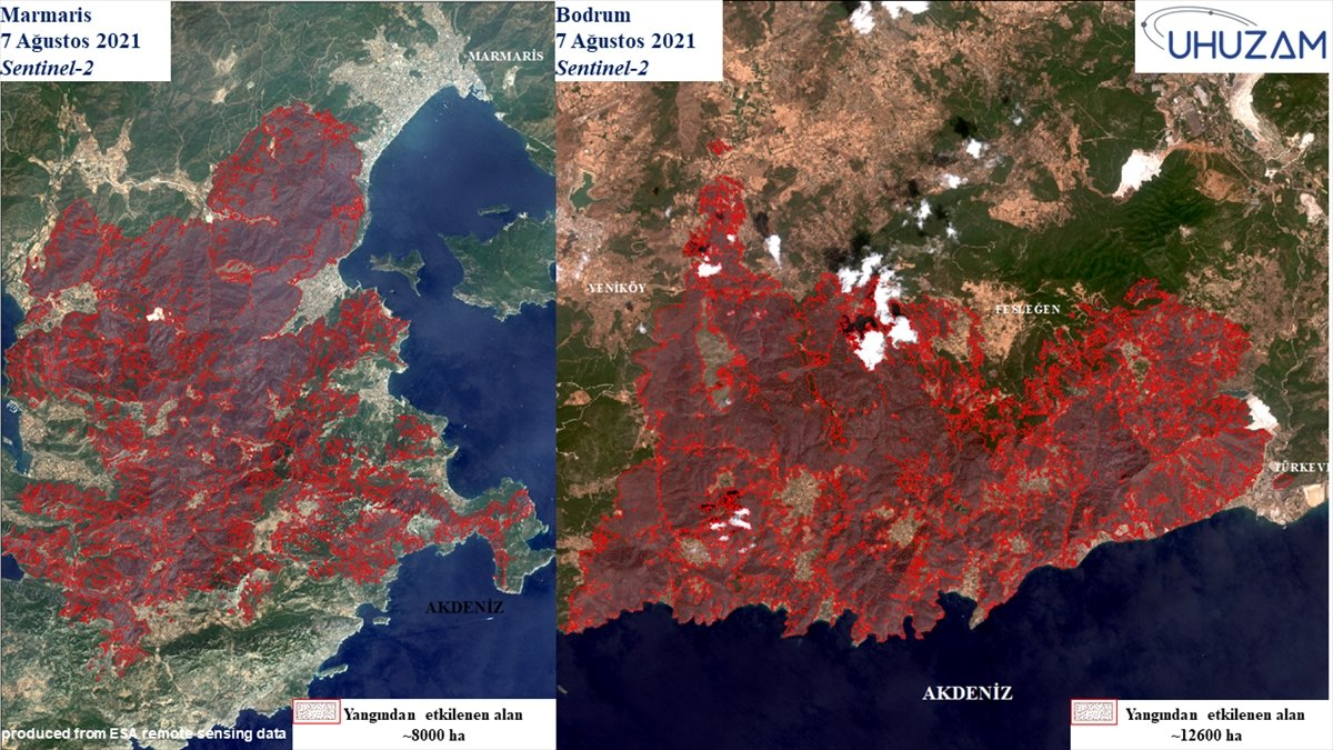 Akdeniz ve Ege de yanan alanlar uzaydan görüntülendi #5