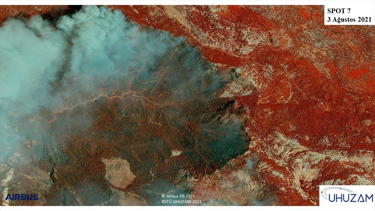 Akdeniz ve Ege de yanan alanlar uzaydan görüntülendi #6