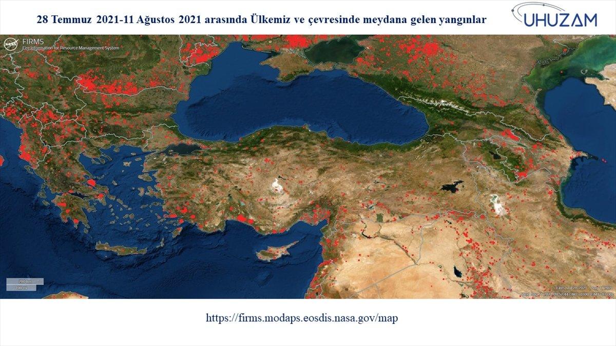 Akdeniz ve Ege de yanan alanlar uzaydan görüntülendi #2