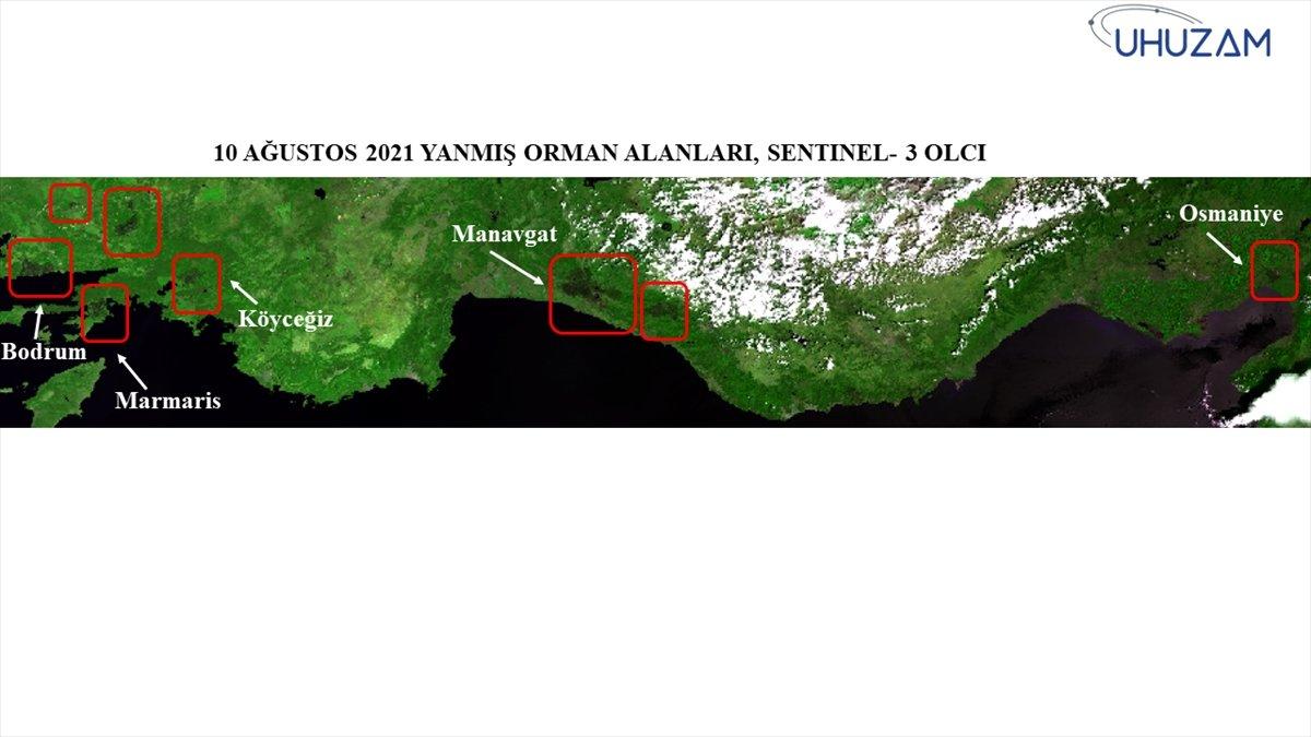 Akdeniz ve Ege de yanan alanlar uzaydan görüntülendi #11