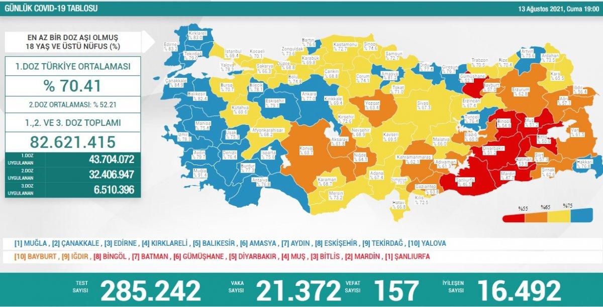 13 Ağustos Türkiye de koronavirüs tablosu #1