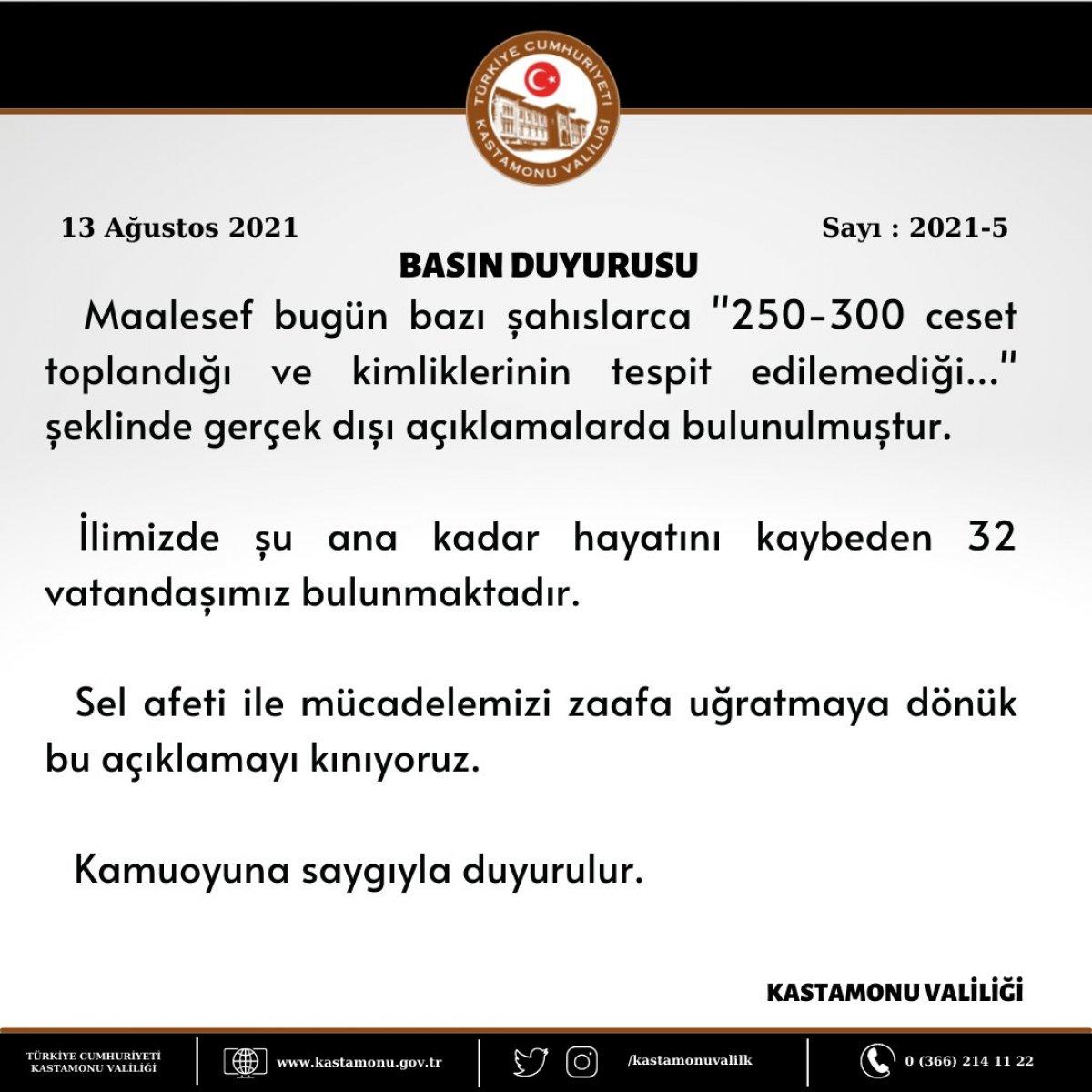 Kastamonu Valiliği: 300 ceset olduğu iddiası gerçek dışı #2