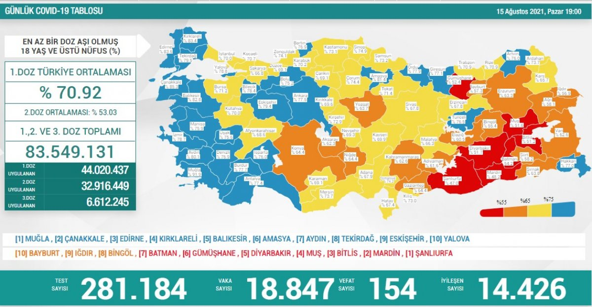 15 Ağustos Türkiye de koronavirüs tablosu #1
