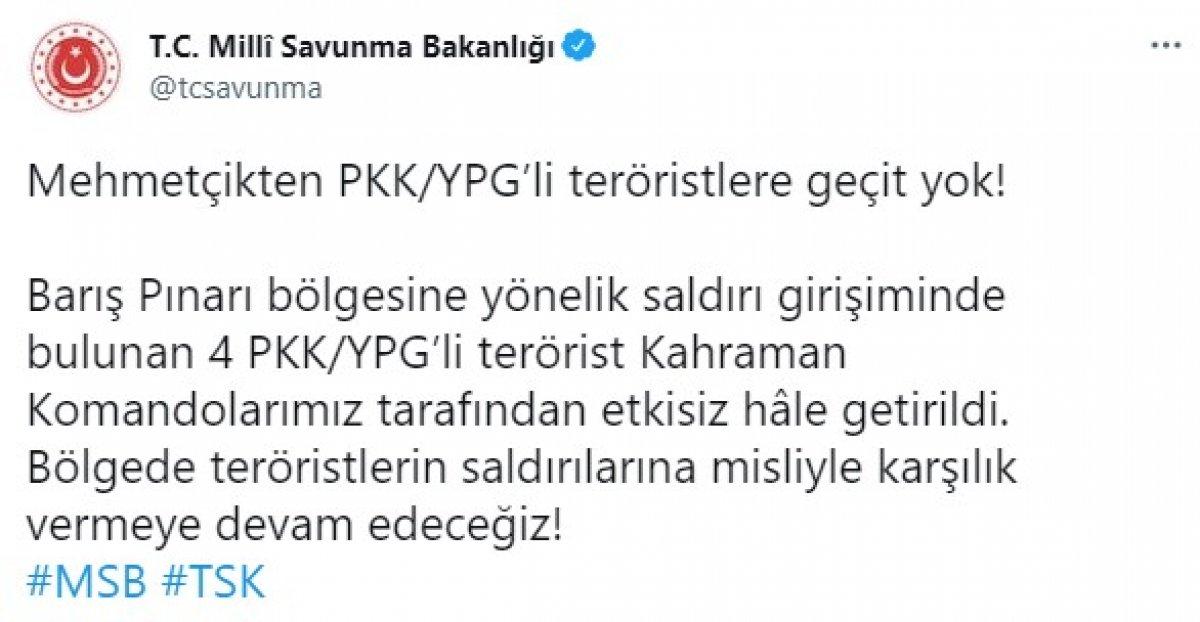 Barış Pınarı bölgesinde 4 terörist etkisiz hale getirildi #1