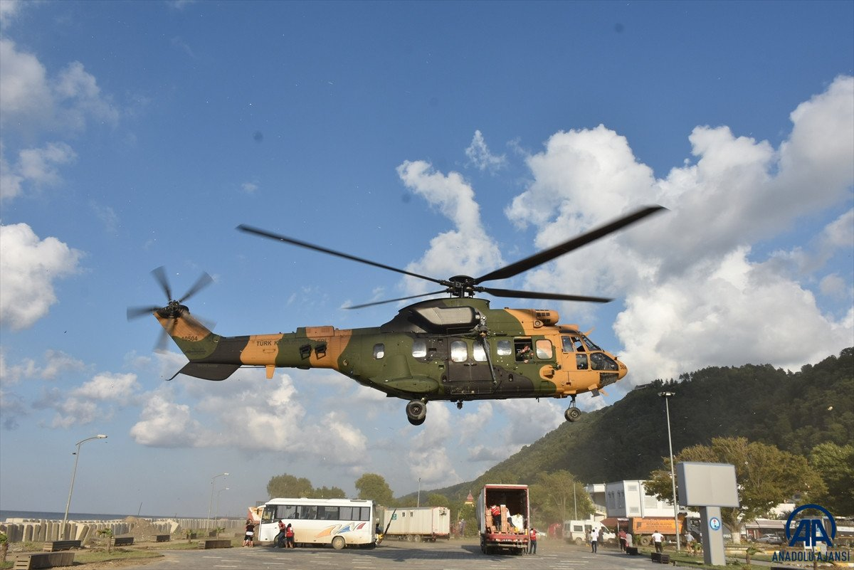 Sinop ta köylere helikopterle erzak taşınıyor #3
