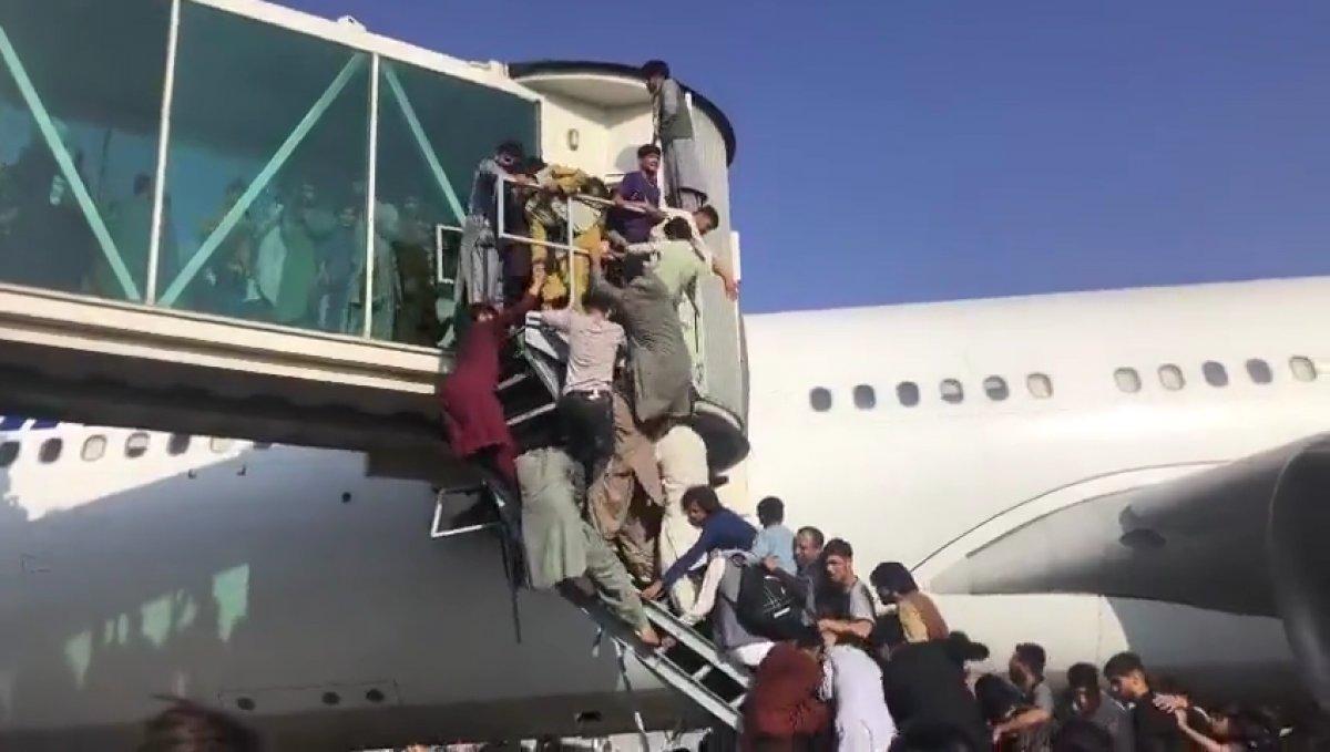 Yüzlerce Afgan, uçağa binebilmek için birbirini ezdi #1