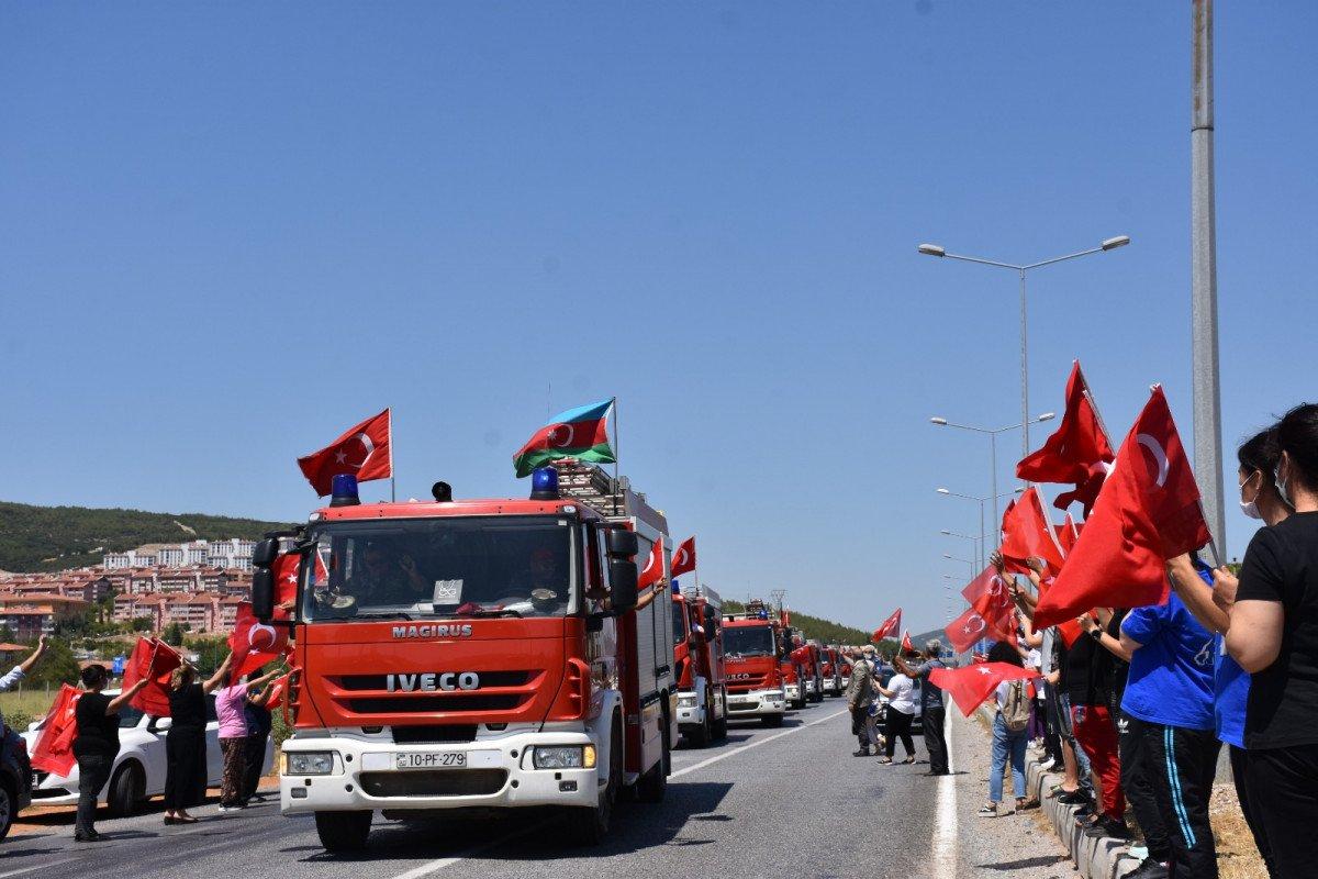 Yangınlara müdahale eden Azerbaycanlı personel, memleketlerine uğurlandı #2