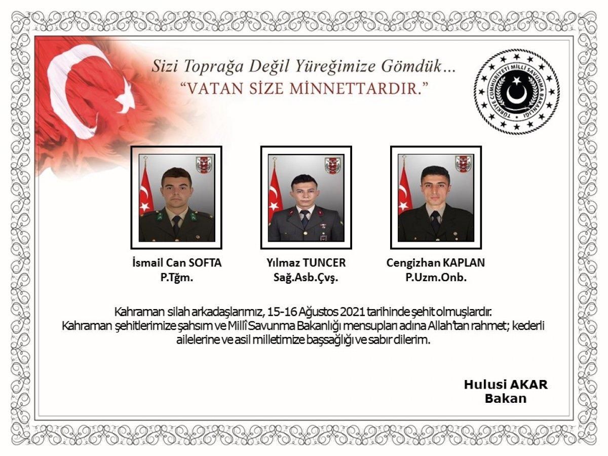 Pençe-Yıldırım Harekatı bölgesinde 3 asker şehit oldu #1