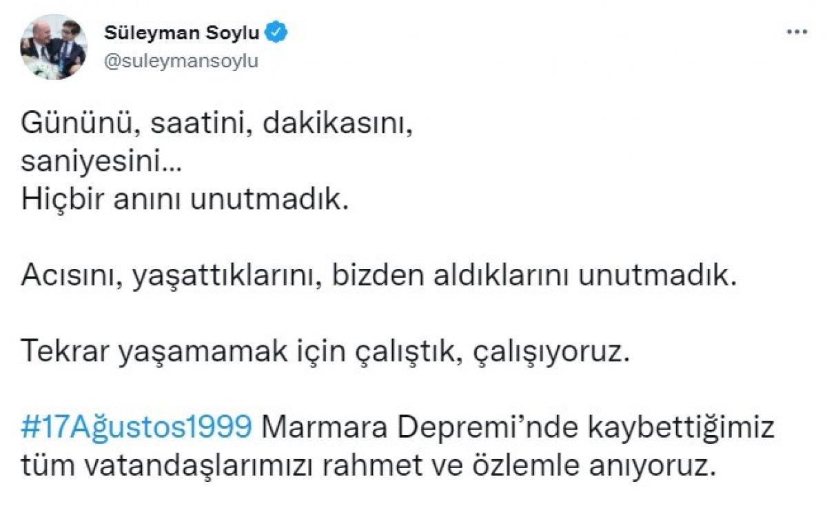 Süleyman Soylu dan Marmara Depremi paylaşımı #1