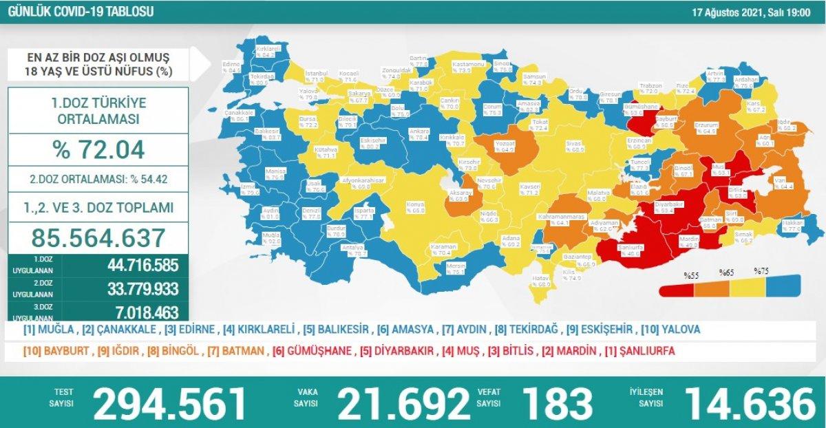 17 Ağustos Türkiye de koronavirüs tablosu #1