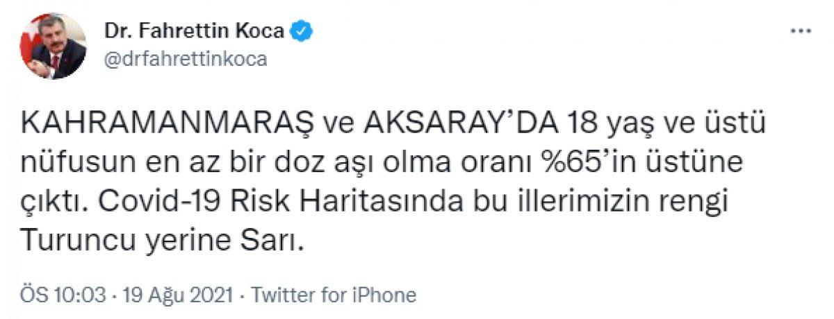Sağlık Bakanı Fahrettin Koca: 2 ilimiz sarı oldu #1