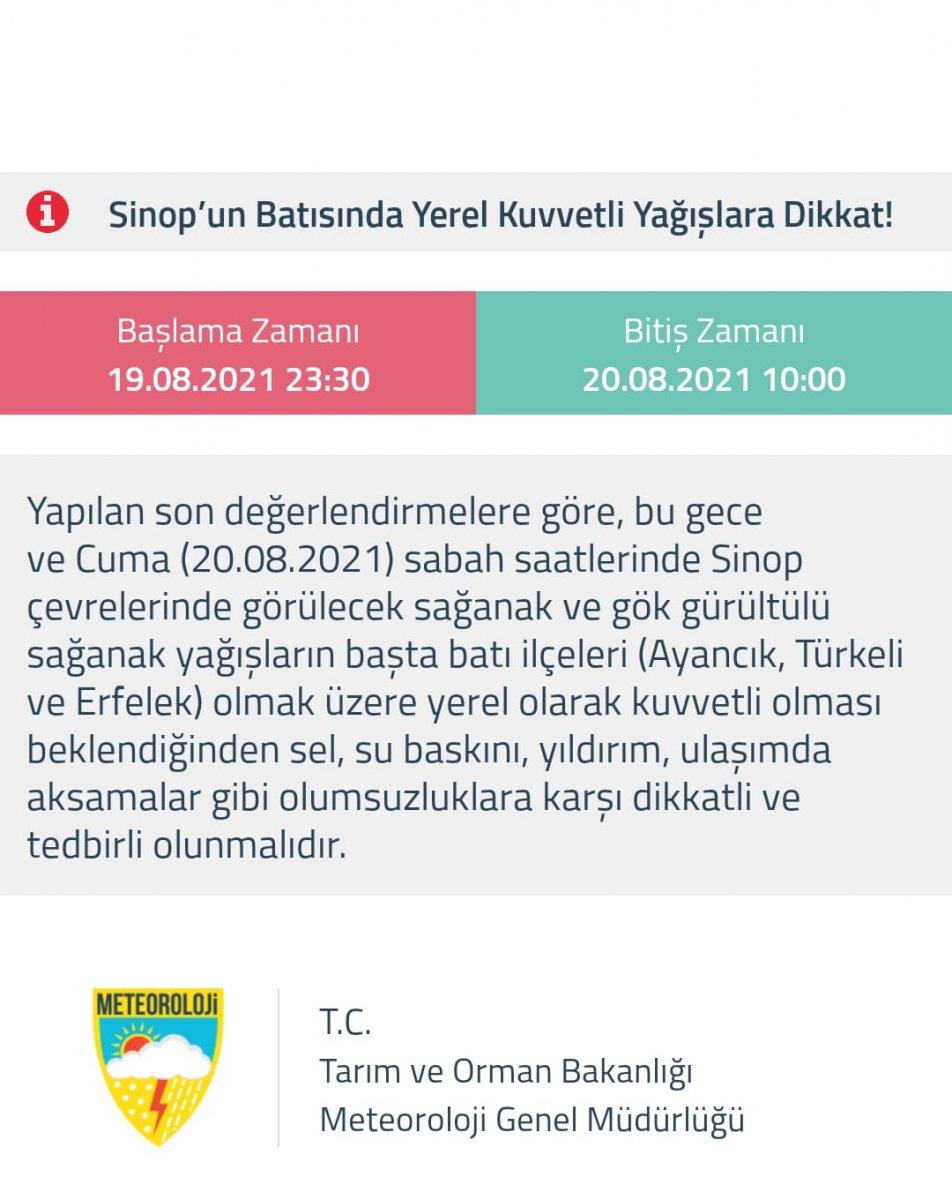 Meteoloroloji den sel bölgesi Sinop a sağanak yağış uyarısı #1