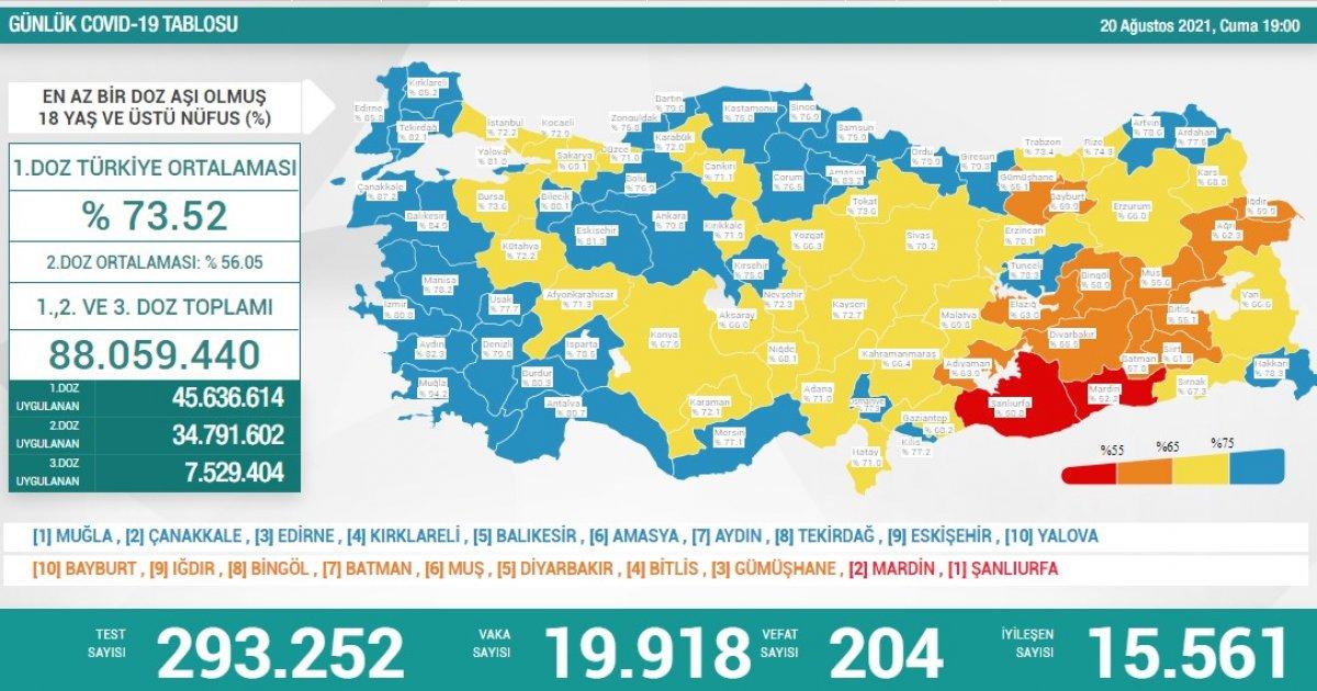 20 Ağustos Türkiye de koronavirüs tablosu #1