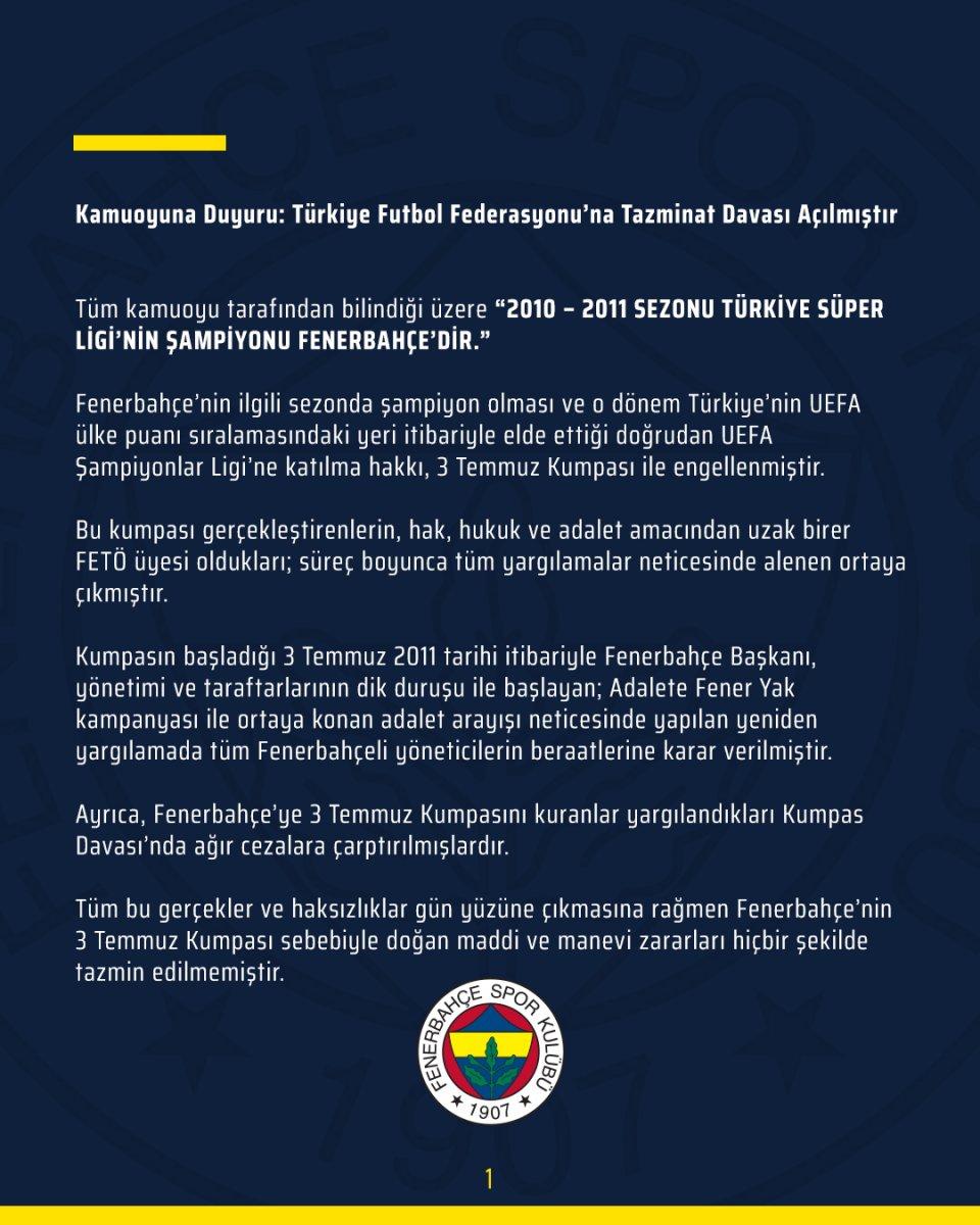 Fenerbahçe, TFF ye tazminat davası açtı #2