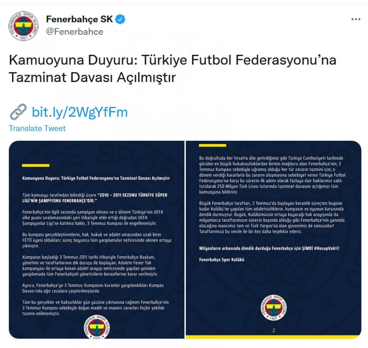 Fenerbahçe, TFF ye tazminat davası açtı #1