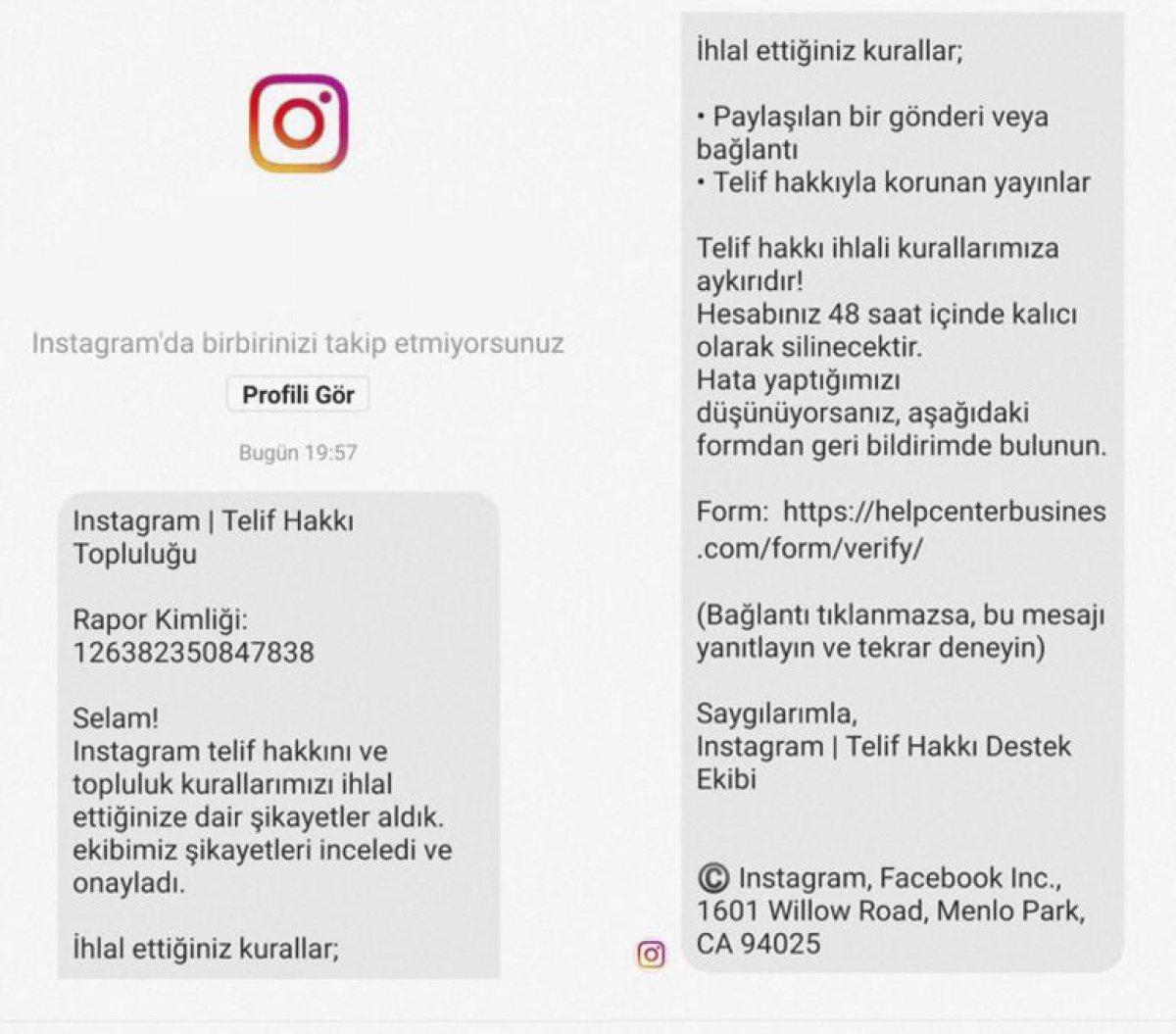 Instagram dan gelen sahte destek mesajlarına dikkat #2