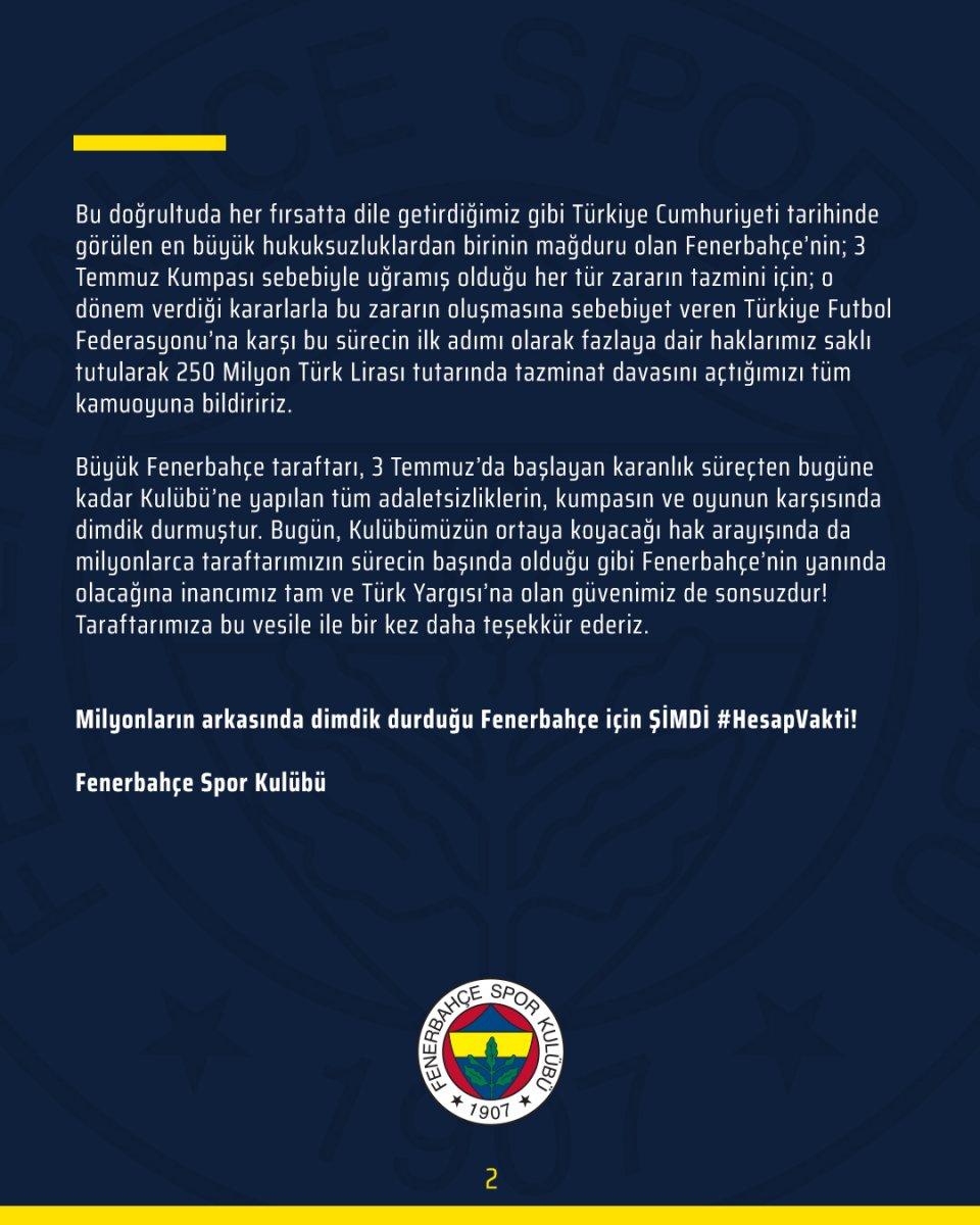 Fenerbahçe, TFF ye tazminat davası açtı #3