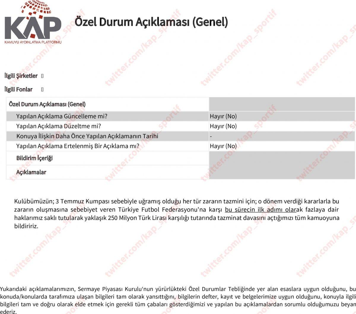 Fenerbahçe, TFF ye tazminat davası açtı #4