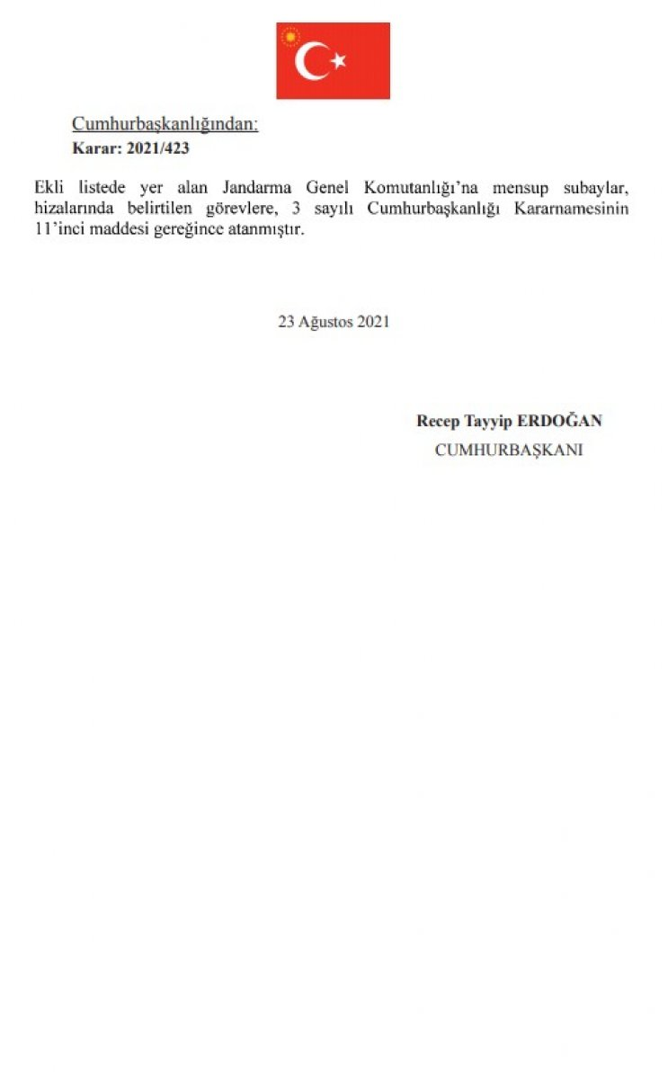 Jandarma Genel Komutanlığı nda atamalar Resmi Gazete de yayınlandı #6