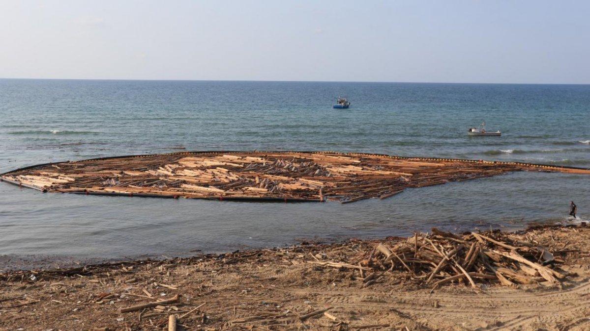Sel felaketinde sahile vuran tomruklar temizlenmeye başladı #2