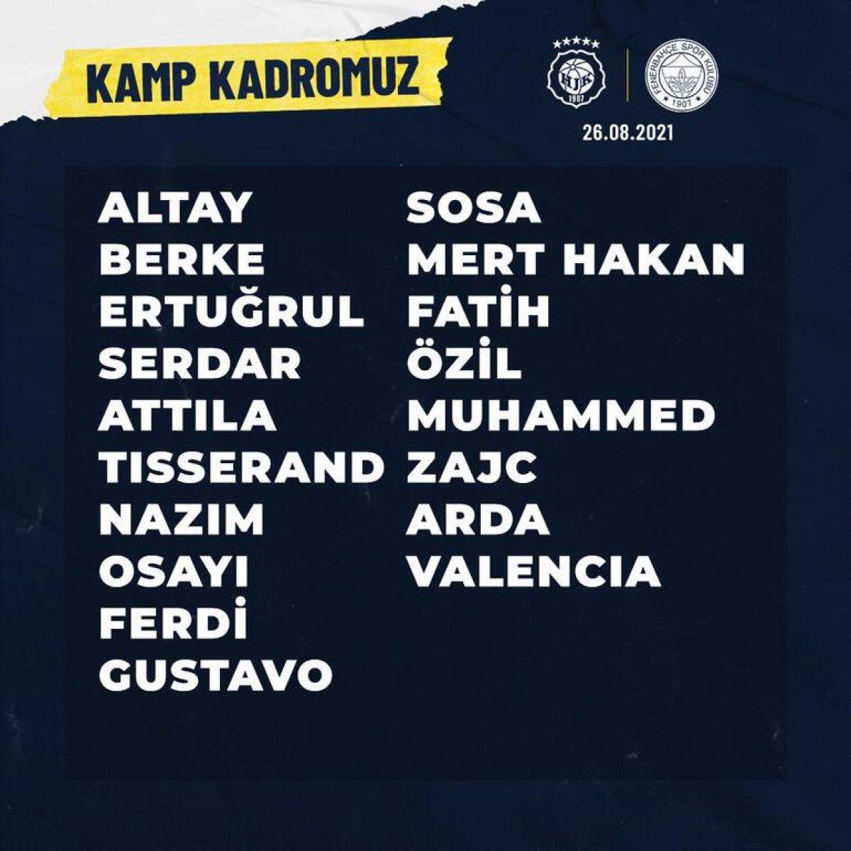 Fenerbahçe nin Helsinki maçı kamp kadrosu #1