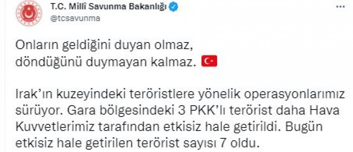 Gara da 3 PKK lı terörist etkisiz hale getirildi #3