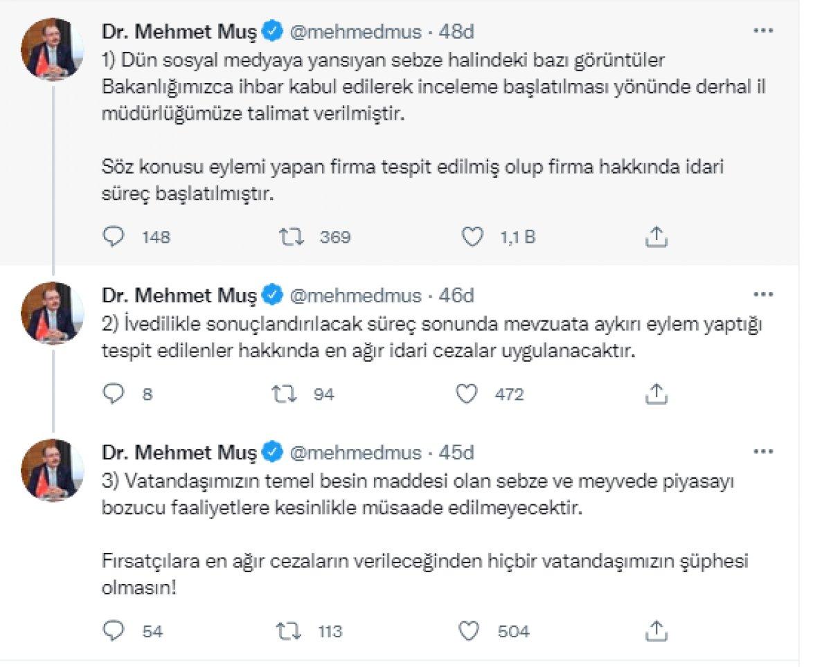 Mehmet Muş tan sebze halinde kabakların çöp kamyonuna atılmasıyla ilgili paylaşım #2
