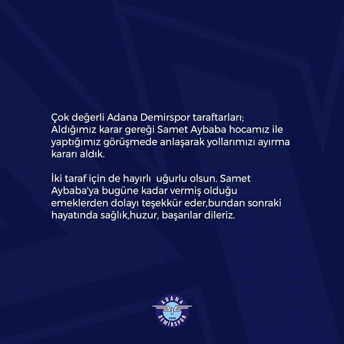 Adana Demirspor da Samet Aybaba dönemi sona erdi #2