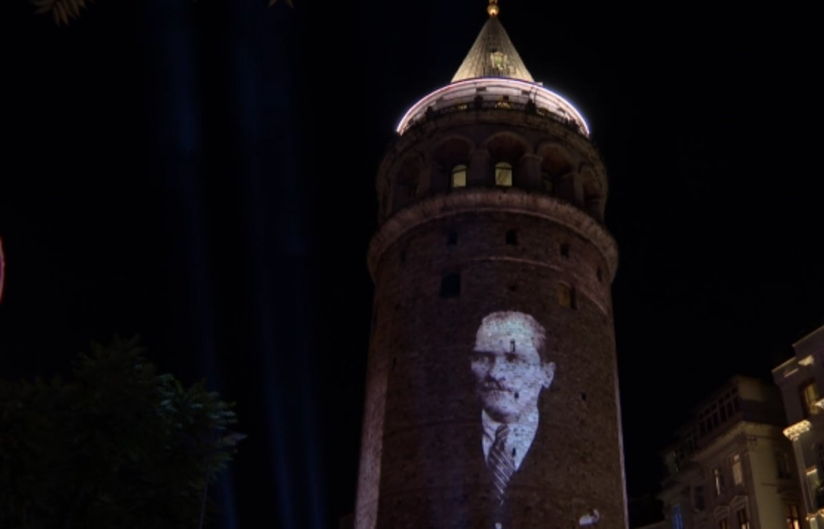 Galata Kulesi nde ışık gösterisi yapıldı #1