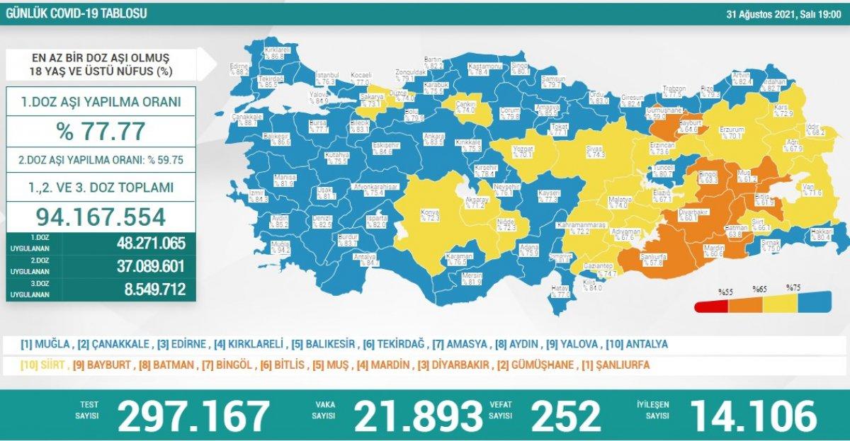 31 Ağustos Türkiye de koronavirüs tablosu #1