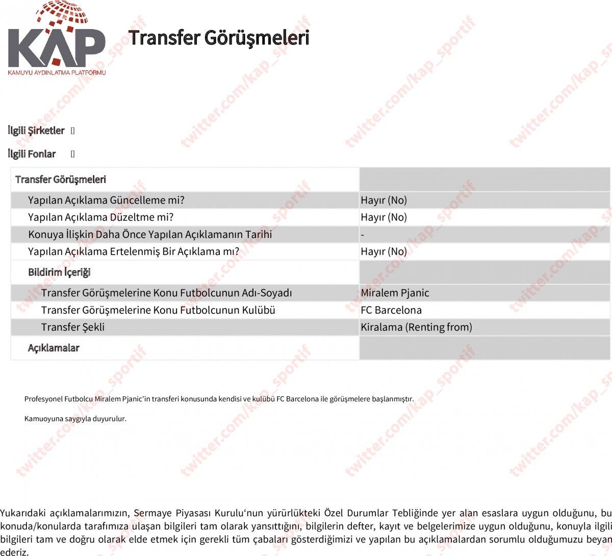 Beşiktaş, Pjanic transferini KAP a bildirdi #1
