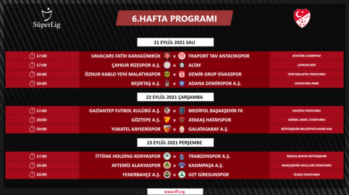 Süper Lig de 4 ile 16.hafta arası programı açıklandı #3