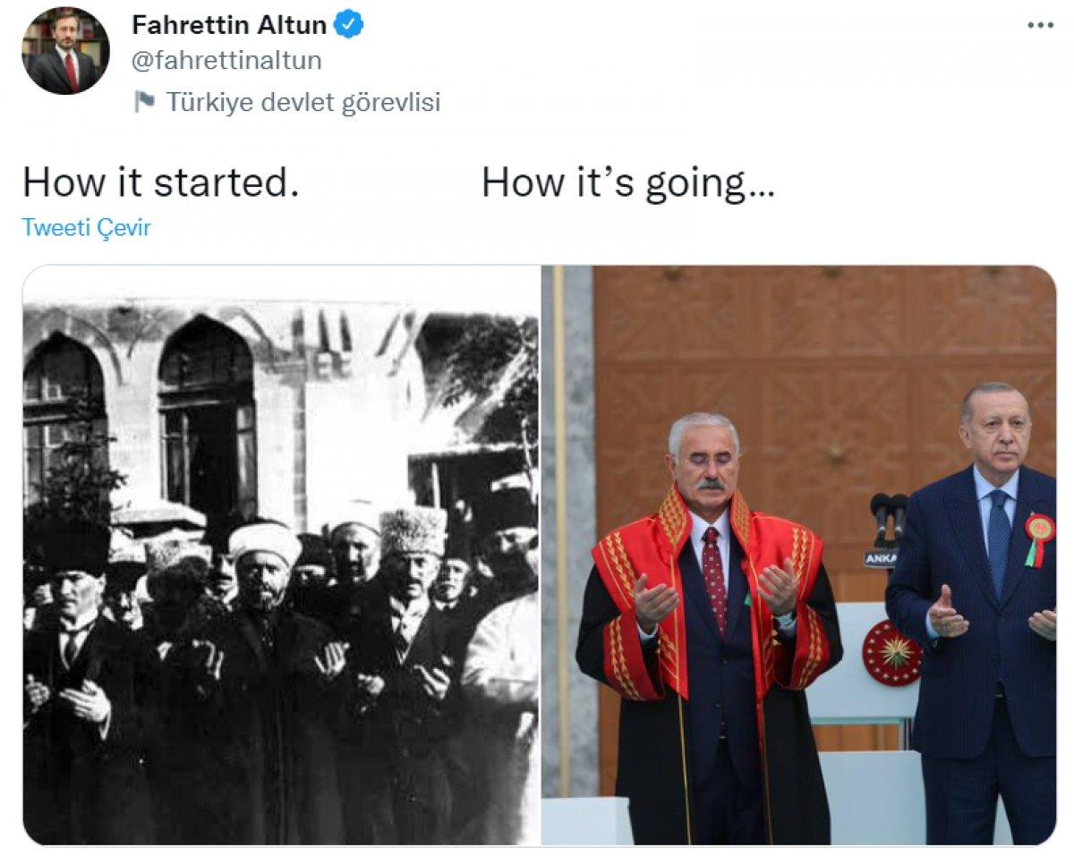 Fahrettin Altun dan dualı açılışı eleştirenlere cevap niteliğinde paylaşım #1