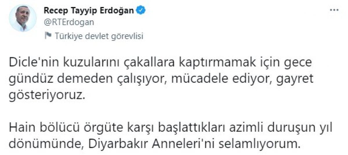 Cumhurbaşkanı Erdoğan dan Diyarbakır daki evlat nöbetinin yıl dönümü paylaşımı #1