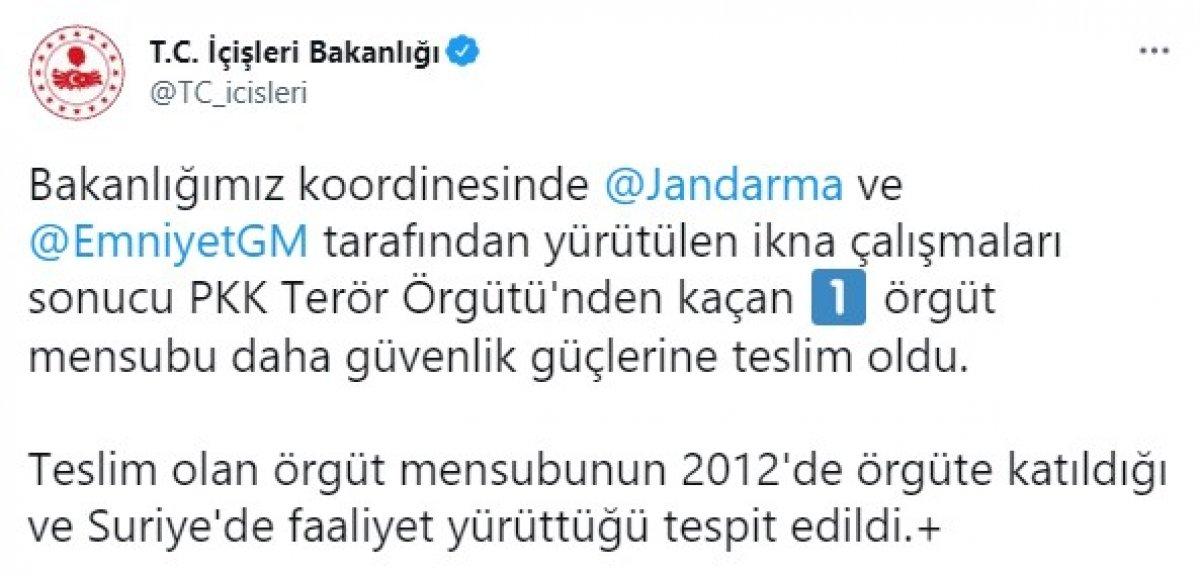 PKK dan kaçan 1 terör örgütü mensubu daha teslim oldu  #1