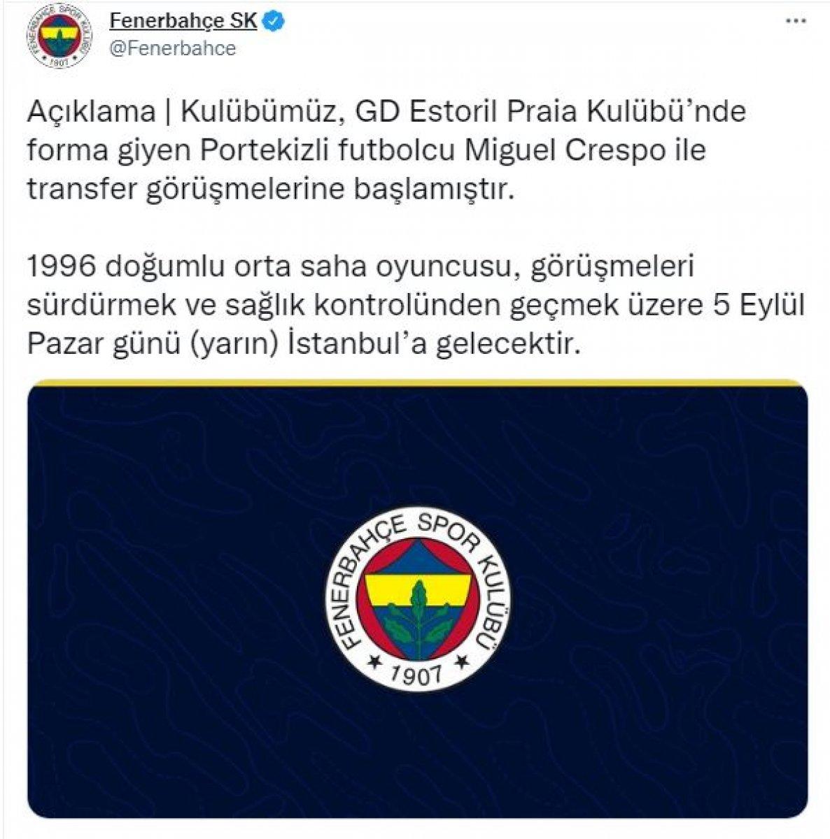Fenerbahçe, Miguel Crespo yu İstanbul a getiriyor #1
