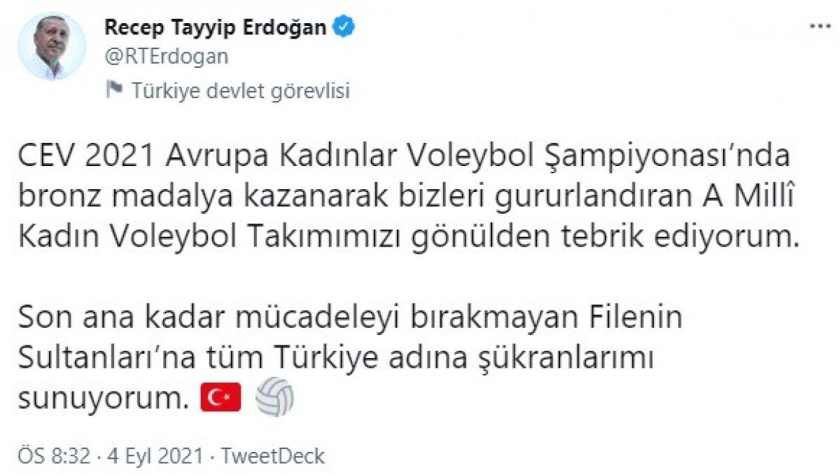 Cumhurbaşkanı Erdoğan dan Filenin Sultanları na tebrik  #1