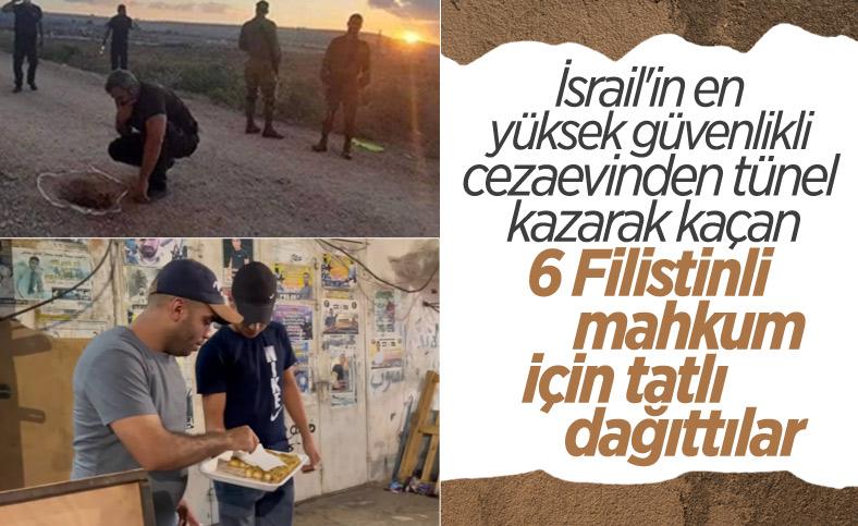 İsrail'de 6 Filistinli hapishaneden kaçınca sokakta tatlı dağıtıldı