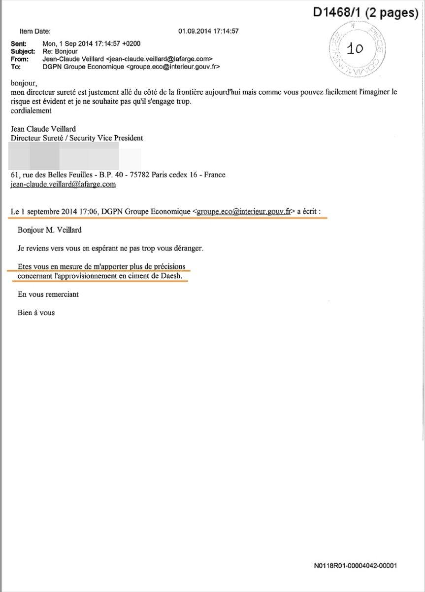 Lafarge ın DEAŞ ile ilişkisini Fransa istihbaratına bildirdiği belgeler #6