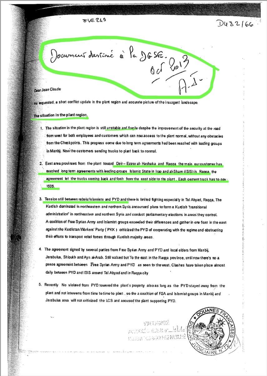 Lafarge ın DEAŞ ile ilişkisini Fransa istihbaratına bildirdiği belgeler #2